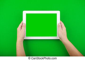 tabliczka, ekran, czysty, samicze ręki, biały, utrzymywać