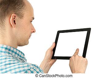 tabliczka, ekran, komputer, czysty, używając, biały, człowiek
