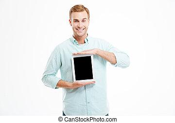 tabliczka, ekran, młody, dzierżawa, czysty, uśmiechnięty człowiek