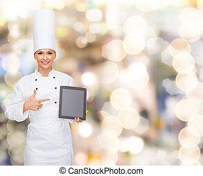 tabliczka, ekran, mistrz kucharski, pc, samica, czysty, uśmiechanie się