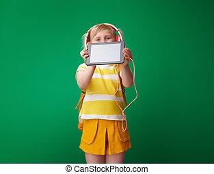 tabliczka, ekran, odizolowany, pc, zielony, uczeń, czysty, pokaz