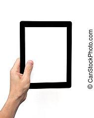 tabliczka, ekran, odizolowany, ręka, komputer, dzierżawa, człowiek