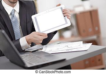 tabliczka, ekran, up.businessman, czysty, zamknięcie, pokaz