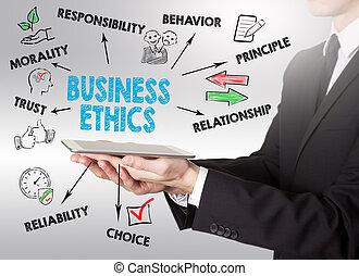tabliczka, handlowe pojęcie, młody, komputer, dzierżawa, etyka, człowiek