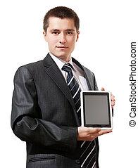 tabliczka, handlowy, ekran, pc, dzierżawa, czysty, dotyk, widać, człowiek
