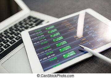 tabliczka, handlowy, wykresy