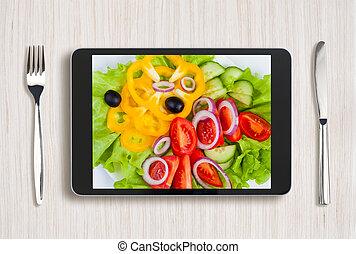 tabliczka, jadło, ekran, pc, czarnoskóry, stół, zdrowy, drewniany