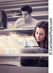 tabliczka, jej, wykresy, komputer, analizując, student,...