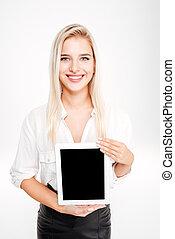 tabliczka, kobieta interesu, ekran, czysty, uśmiechanie się, pokaz