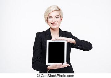 tabliczka, kobieta interesu, pokaz, komputer, okienko osłaniają
