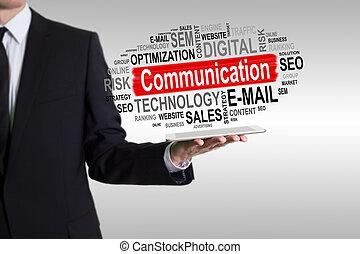 tabliczka, komunikacja, concept., komputer, dzierżawa, człowiek