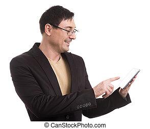 tabliczka, młody, cyfrowy, używając, szczęśliwy, człowiek