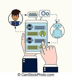 tabliczka, pojęcie, handlowy, gaworząc, technologia, chatbot...