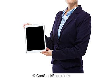 tabliczka, pokaz, kobieta interesu, ekran, cyfrowy, czysty