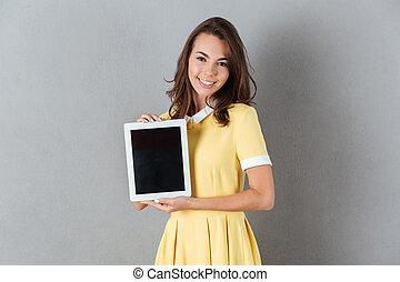 tabliczka, pokaz, komputer, ładny, czysty, dziewczyna, śliczny, strój, ekran