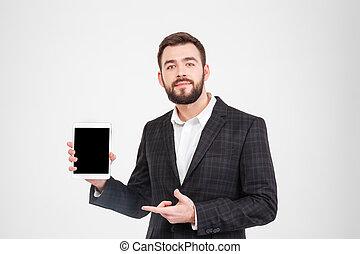 tabliczka, pokaz, komputer, czysty, biznesmen, ekran