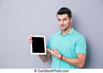 tabliczka, pokaz, komputer, okienko osłaniają, człowiek