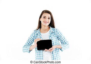 tabliczka, pokaz, młody, komputer, czysty, portret, dziewczyna, ekran