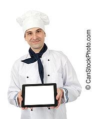 tabliczka, pokaz, mistrz kucharski, pc, okienko osłaniają