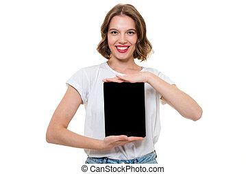 tabliczka, pokaz, radosny, dziewczyna, czysty, portret, uśmiechanie się, ekran