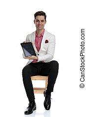 tabliczka, posadzony, biznesmen, pokaz, uśmiechanie się, ekran, czysty