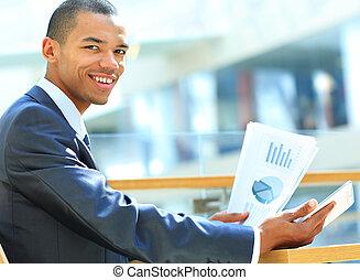 tabliczka, powodzenie, workflow, concept., cyfrowy, biznesmen, komputer, nowy, używając, documents., technologie