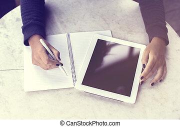 tabliczka, pracujący, pozwy, notatnik, cyfrowy, dziewczyna