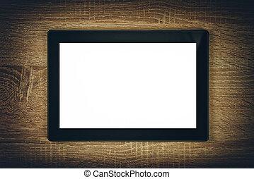 tabliczka, przestrzeń, ekran, cyfrowy, czysty, kopia