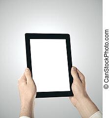 tabliczka, ręka, cyfrowy, dzierżawa