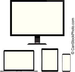 tabliczka, realistyczny, ekran, odizolowany, laptop, telefon, komputer, tło., czysty, biały, mądry