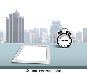 tabliczka, retro, zegar, czysty, biurko, alarm