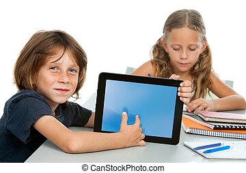 tabliczka, screen., sprytny, spoinowanie, chłopiec, student, czysty