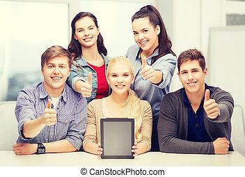 tabliczka, studenci, ekran, pc, czysty, uśmiechanie się