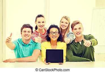 tabliczka, studenci, pokaz, pc, czysty, uśmiechanie się, ekran