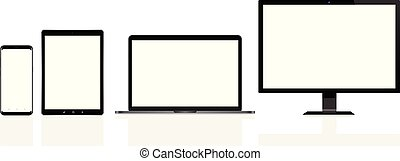 tabliczka, telefon, ruchomy, nowoczesny, laptop, pc komputer...