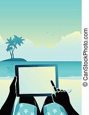 tabliczka, tropikalny, komputer, używając, plaża, człowiek
