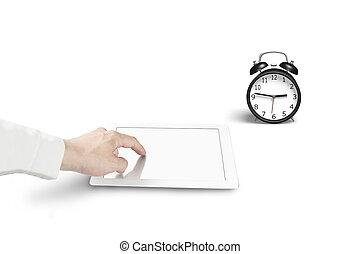 tabliczka, zegar, alarm, ręka, czysty, dotyk