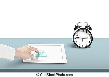 tabliczka, zegar, alarm, ręka, dotykanie, potrząsanie, ikona