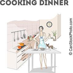 tablier, dîner, femme, cuisine, cuisine