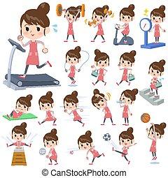 tablier, exercice, ballet, chignon cheveux, sports, maman, &