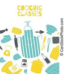 tablier, pots, cuisinier, kitchenware, chef cuistot, classes, cuisine, vecteur, affiche, planche, cuisine, illustration.