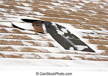 tablillas, dañado, invierno, techo