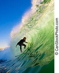 tablista, en, océano azul, onda
