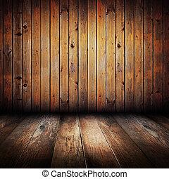 tablones, de madera, amarillo, vendimia, interior