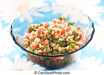 Tabouli salad - Tabouli middle eastern salad at glass bowl...