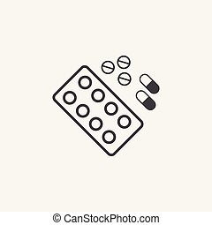 Tabs And Pills glyph icon. Monochrome style design simple element. Black color tabs and pills icon for web and mobile. Healthcare collection