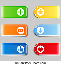 Tabs with icons, vector eps10 illustration