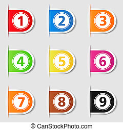 Tabs with numbers - Set of tabs with numbers, vector eps10...