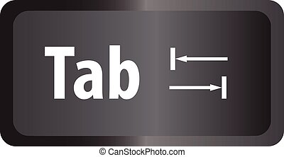 TAB(Tab) computer key button on white background. flat style...