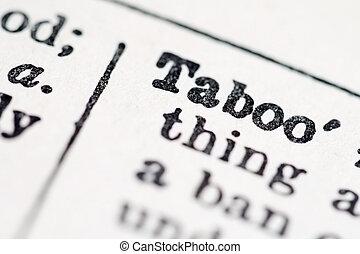 tabu, wort, in, wörterbuch